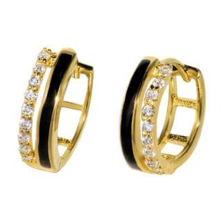 Pori Sterling Silver Cubic Zirconia Huggie Earrings