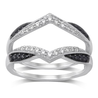 Unending Love 1/3ct TW 14k White Gold Treated Black and White Diamond Milgrain Guard Ring (IJ I1-I2)