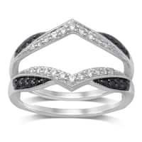 Unending Love 14k Gold 1/3ct TDW Treated Black and White Diamond Milgrain Guard Ring