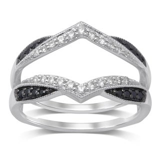Unending Love 14k Gold 1/3ct TDW Treated Black and White Diamond Milgrain Guard Ring
