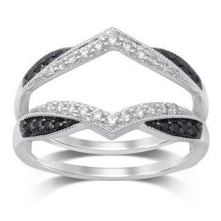 Unending Love 1/3ct TW 14k White Gold Treated Black and White Diamond Milgrain Guard Ring (IJ I1-I2)