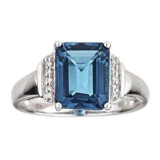 Anika and August 10k White Gold Emerald-cut London Blue Topaz and Diamond Ring