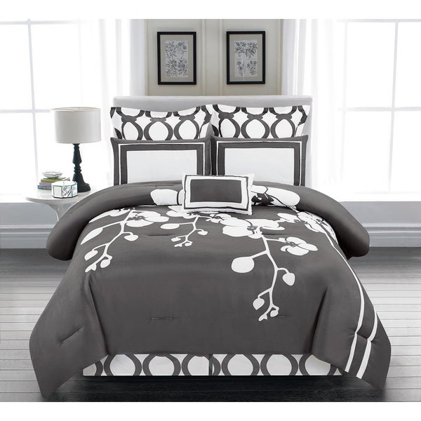 April Orchidea Flower Oversized and Overfilled Reversible Queen-size 6-piece Comforter Set
