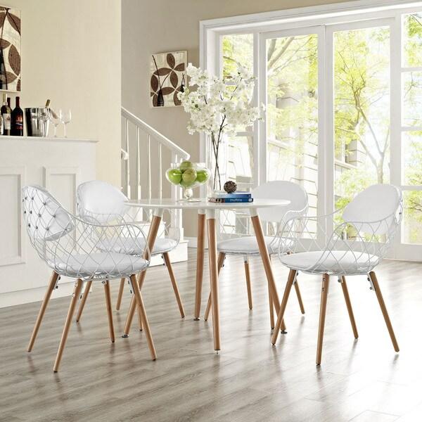 Modway Basket White Metal 4-piece Chair Set