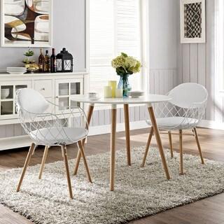 Modway Basket White Metal Dining Chair Set Of 2