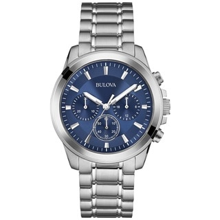 Bulova Men's 98A178 Stainless Steel Chronograph Blue Dial Watch with Luminous Hands