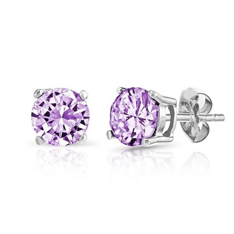 .925 Sterling Silver Crafted Genuine Birthstone Earrings