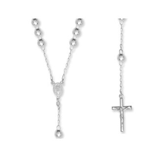 .925 Sterling Silver-faceted Disco Ball Rosary Beads Necklace