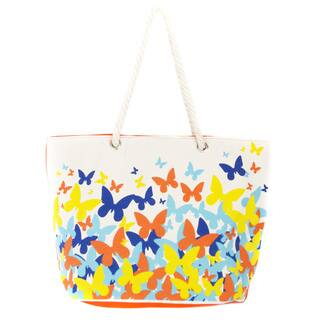 Leisureland Rope Flutter Butterfly Handle Canvas Printed Tote Bag|https://ak1.ostkcdn.com/images/products/12091086/P18955345.jpg?impolicy=medium