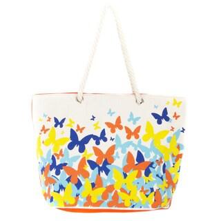 Leisureland Rope Flutter Butterfly Handle Canvas Printed Tote Bag