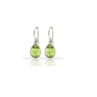 Genuine Sterling Silver 3.0-carat Peridot Pear-shaped Drop Earrings