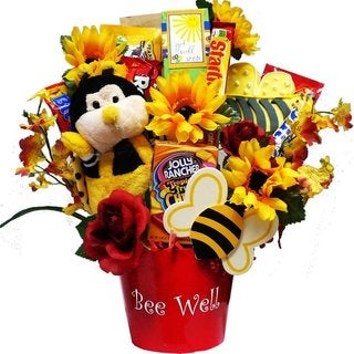 Bee Well Soon Get Well Candy Bouquet with Plush Bumble Bee - bee-well-bouquet