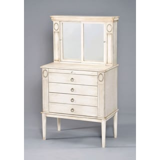 Leven Jewelry Antique White Armoire