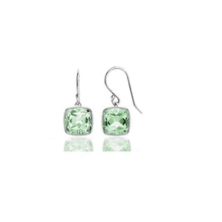 Sterling Silver 3.50 CTTW Genuine Green Amethyst Drop Earrings