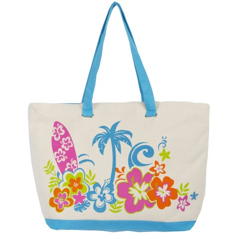 Leisureland Rope Handle Hibiscus Flower Canvas Printed Large Tote Bag Hibiscus