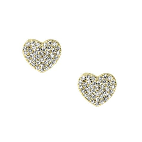14k Yellow Gold and Cubic Zirconia Twin Hearts Saddleback Earrings