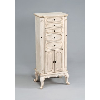 Lief Antique White Wood Jewelry Armoire