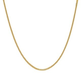 Jewel 14k Yellow Gold Square Wheat Chain Necklace