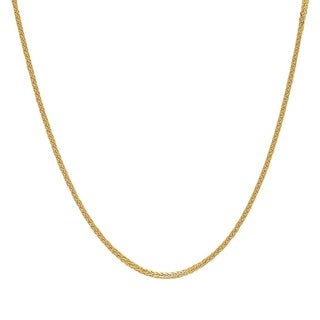 Jewel 14k Yellow Gold Square Wheat Chain Necklace (3 options available)