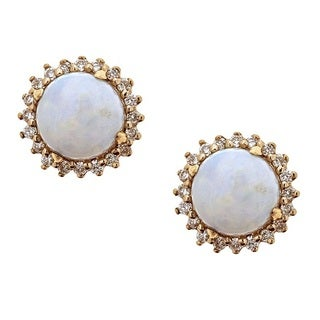 Anika and August 14k Yellow Gold Round-cut Australian Opal and Diamond Earrings