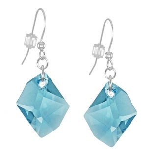 Handmade Jewelry by Dawn Large Aquamarine Cosmic Swarovski Crystal Long or Short Sterling Silver Earrings (USA)