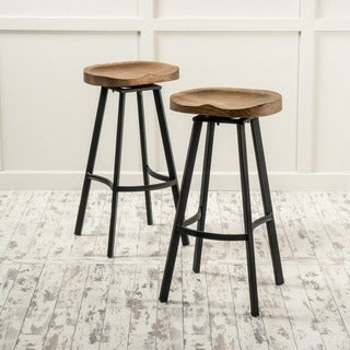 Link to Albia Round Swivel Barstool (Set of 2) by Christopher Knight Home Similar Items in Dining Room & Bar Furniture