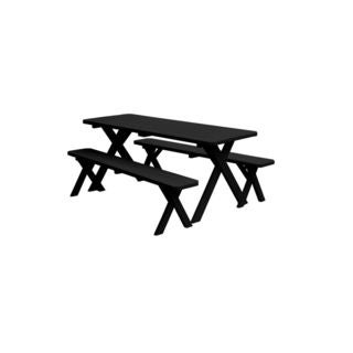 70-inch Crossleg Table with 2 Benches