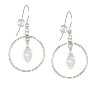 Jewelry by Dawn Hoops With Crystal Moonlight Sterling Silver Earrings
