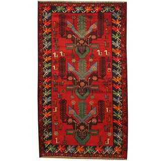 Herat Oriental Afghan Hand-knotted Tribal Balouchi Red/ Navy Wool Rug (4' x 6'10)