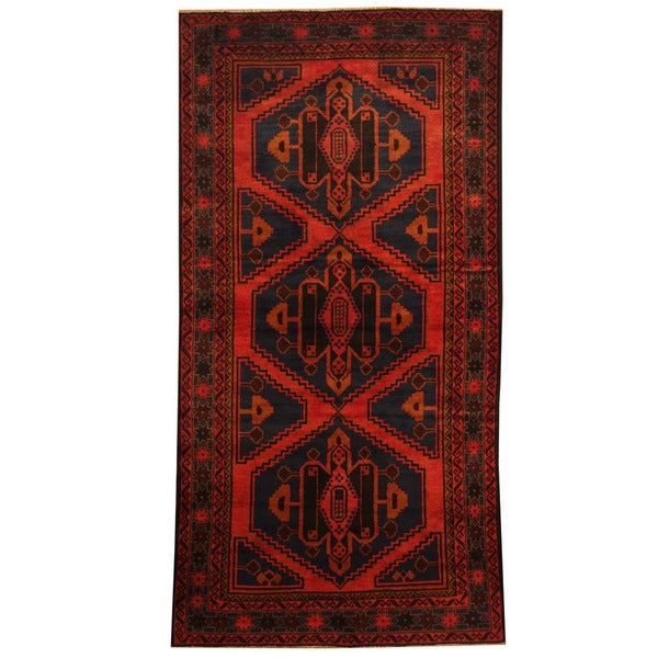 Herat Oriental Afghan Hand-knotted Tribal Balouchi Wool Rug (3'6 x 6'10)