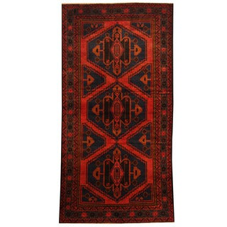 Herat Oriental Afghan Hand-knotted Tribal Balouchi Red/ Blue Wool Rug (3'6 x 6'10)