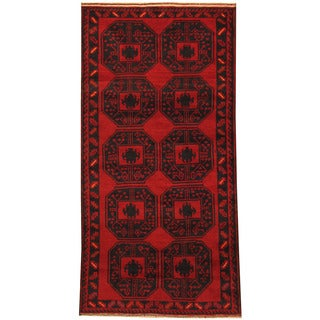 Herat Oriental Afghan Hand-knotted Tribal Balouchi Wool Rug (3'4 x 6'7)