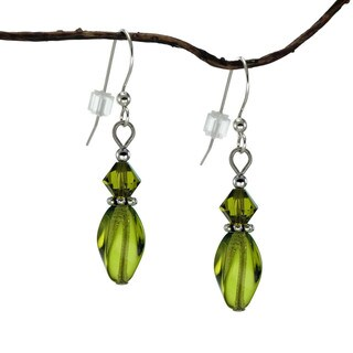 Handmade Jewelry by Dawn Olive Green Crystal Twisted Glass Earrings (USA)