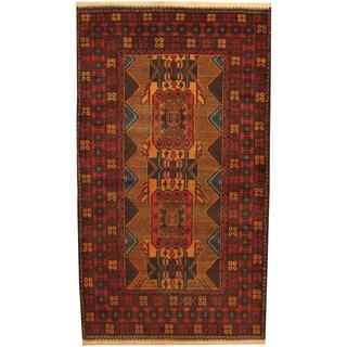 Herat Oriental Afghan Hand-knotted Tribal Balouchi Tan/ Red Wool Rug (3'7 x 6'6)