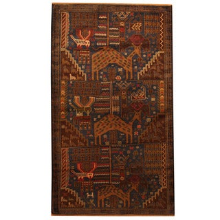 Herat Oriental Afghan Hand-knotted Tribal Balouchi Blue/ Brown Wool Rug (3'10 x 6'7)