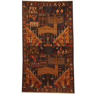 Herat Oriental Afghan Hand-knotted Tribal Balouchi Navy/ Tan Wool Rug (3'6 x 6'2)
