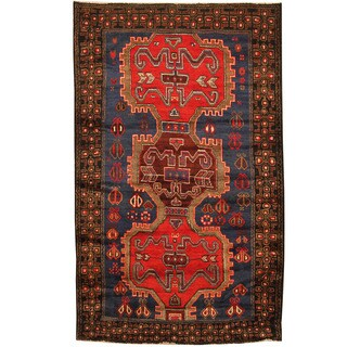 Herat Oriental Afghan Hand-knotted Tribal Balouchi Blue/ Black Wool Rug (3'10 x 6'10)