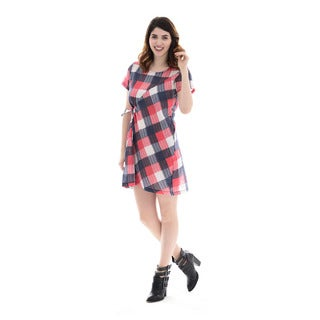 Trisha Tyler Women's Checkered Plaid Wrap Dress