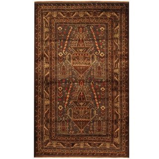 Herat Oriental Afghan Hand-knotted Tribal Balouchi Navy/ Ivory Wool Rug (4' x 6'5)