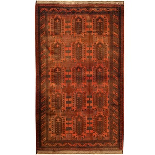 Herat Oriental Afghan Hand-knotted Tribal Balouchi Salmon/ Navy Wool Rug (4'1 x 7')