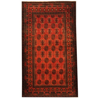 Herat Oriental Afghan Hand-knotted Tribal Balouchi Red/ Navy Wool Rug (4'4 x 7'4)