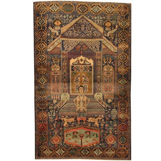 Herat Oriental Afghan Hand-knotted Tribal Pictorial Balouchi Blue/ Light Green Wool Rug (4'2 x 6'9)
