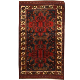 Herat Oriental Afghan Hand-knotted Tribal Balouchi Blue/ Ivory Wool Rug (3'3 x 5'7)