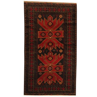 Herat Oriental Afghan Hand-knotted Tribal Balouchi Navy/ Red Wool Rug (3'5 x 6')