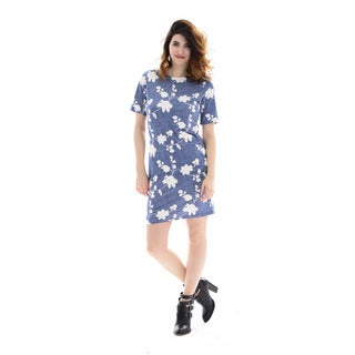 Trisha Tyler Women's Blue/Cream Embossed Knit Dress