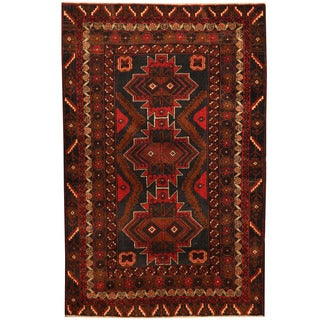 Herat Oriental Afghan Hand-knotted Tribal Balouchi Wool Rug (3'9 x 5'9)