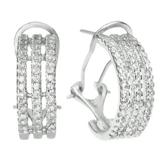 Queenberry Sterling Silver Clear Cubic Zirconia Half Hoop French Clasp Earrings