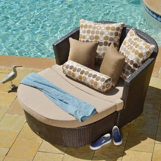 Corvus Sandoval Brown Resin Wicker Day Bed with Sunbrella Fabric Cushions