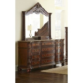 LYKE Home Alice Cherry Wood, Veneer, and Glass Dresser and Mirror Combo