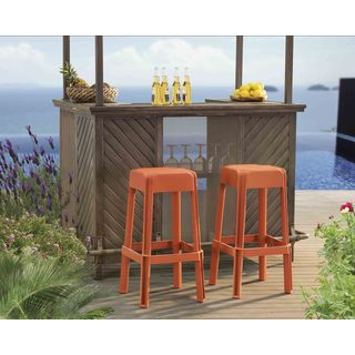 Sunjoy Orange Polypropylene Outdoor Stools (Set of 2)